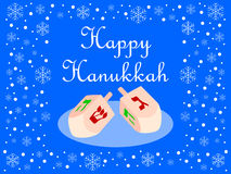 Blue Happy Hanukkah Card. Illustration wishing a Happy Hanukkah with two dreidel and blue background decorated with snowflakes. Red version also available in my