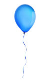 Blue happy holiday air flying balloon isolated on white. Background Royalty Free Stock Photo