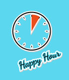 Blue happy hour background with clock Stock Images