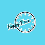 Blue happy hour background with clock Stock Photography