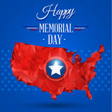 Blue happy memorial day. Design on a star background Stock Photo