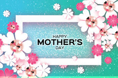 Blue Happy Mothers Day. Brilliant stones. Paper cut flower. Rectangle frame. Royalty Free Stock Images