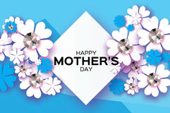 Blue Happy Mothers Day. Brilliant stones. White Paper cut flower. Rhombus frame. Stock Photos