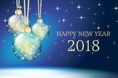 Blue happy new year card 2018 Stock Images