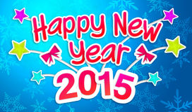 Blue Happy New Year 2015 Greeting Art Paper Card stock illustration