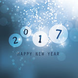 Blue Happy New Year Greeting Card, Cover or Background, Creative Design Template - 2017 Stock Photos