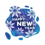 Blue Happy New Year Greetings card. Snowfall. Paper cut snow flake. Merry Christmas invitation. Winter snowflakes. Garland. Text. Layered tonnel wave background Stock Photo