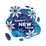 Blue Happy New Year Greetings card. Snowfall. Paper cut snow flake. Merry Christmas invitation. Winter snowflakes. Garland. Text. Layered tonnel wave background Royalty Free Stock Photos