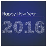 Blue happy new year 2016 from little snowflakes Royalty Free Stock Photography
