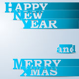 Blue Happy New Year & Merry Xmas paper strips. Eps10 vector illustration Stock Illustration