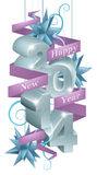 Blue Happy New Year 2014 Ornaments. Blue and silver happy new year 2014 ornaments with a purple ribbon reading happy new year Royalty Free Stock Photo