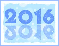 Blue happy new year pf 2016 in ice design Royalty Free Stock Images