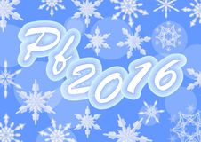 Blue happy new year pf 2016 with snowflakes Stock Images