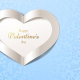 Blue Happy Valentines Day background with white heart and floral seamless pattern. Vector greeting card. Royalty Free Stock Photos