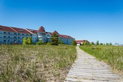 Blue Harbor Resort. Shot of Sheboygan& x27;s resort and spa from the south east, with a wooden path drawing you in to the building stock photos