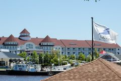 Blue Harbor Resort. Shot of Blue Harbor from the West, with the City& x27;s flag displaying its logo stock photos