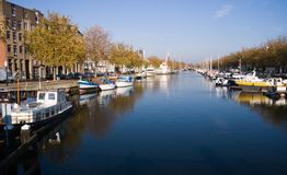 Blue harbour in october sun Royalty Free Stock Images