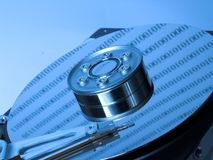 The blue hard drive. Open hard drive in blue colors Stock Images