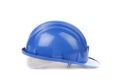 Blue hard hat. Stock Photo