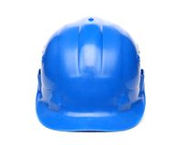 Blue hard hat isolated on a white background Stock Photos