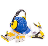 Blue hard hat Royalty Free Stock Photography