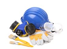 Blue hard head gloves and tools Royalty Free Stock Image