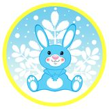 Blue hare on a round card Stock Image
