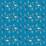 Blue hares pattern Royalty Free Stock Photography