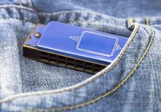 Blue harmonica. In blue jeans pocket Stock Photo