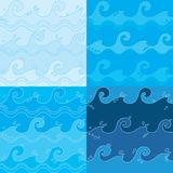 Blue Harmony Sea Waves Seamless Pattern Set Vector Illustration. All elements are grouped together logically and easy to edit Stock Photo