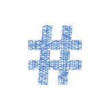 Blue hashtag icon in sketch style. Concept of number sign and social media. isolated on white background. modern vector illustration Royalty Free Stock Photo