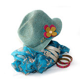 Blue hat and accessories Stock Image