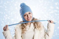 Blue hat on a blond girl, node with Stock Image