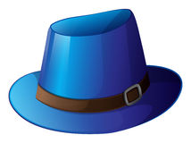 A blue hat with a brown belt Royalty Free Stock Photo