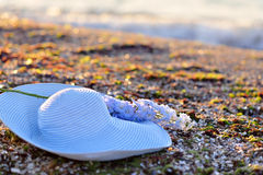 Blue hat and flower Royalty Free Stock Photo