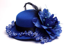Blue hat and necklace. Blue hat and blue necklace on a white Royalty Free Stock Images