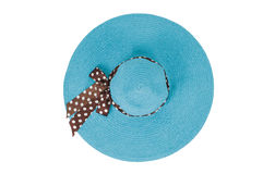 Blue hat with a ribbon. On a white background royalty free stock photography
