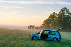 Blue hatchback car Royalty Free Stock Photo
