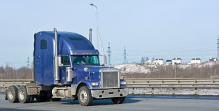 Blue hauler truck of my trucks and business Stock Image