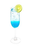 Blue hawai  italian soda with lemon slice Royalty Free Stock Image