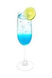 Blue hawai  italian soda with lemon slice Royalty Free Stock Image