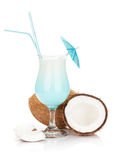 Blue hawaii cocktail and coconuts Royalty Free Stock Image