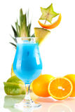 Blue Hawaii tropical cocktail with pineapple Stock Photo