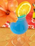Blue Hawaiian. Tropical beverage in a hurricane glass Stock Images