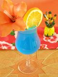 Blue Hawaiian. Tropical beverage in a hurricane glass Stock Image