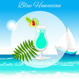 Blue Hawaiian cocktail on the seaside background stock photos