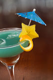 Blue hawaiian tropical cocktail Royalty Free Stock Photo