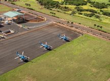 Blue Hawaiian Eco Star helicopters at Lihue stock photography