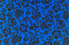 Blue Hawaiian fabric with flowers Stock Photography