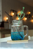 Blue Hawaiian sodas bokeh background. Stock Image